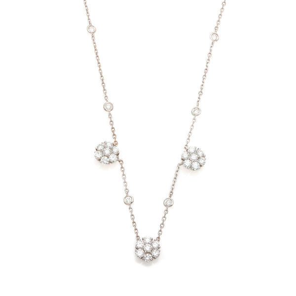 Three Cluster Diamond Necklace-30% OFF!