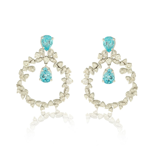 Face-Forward Diamond Hoops with Blue Topaz Drop
