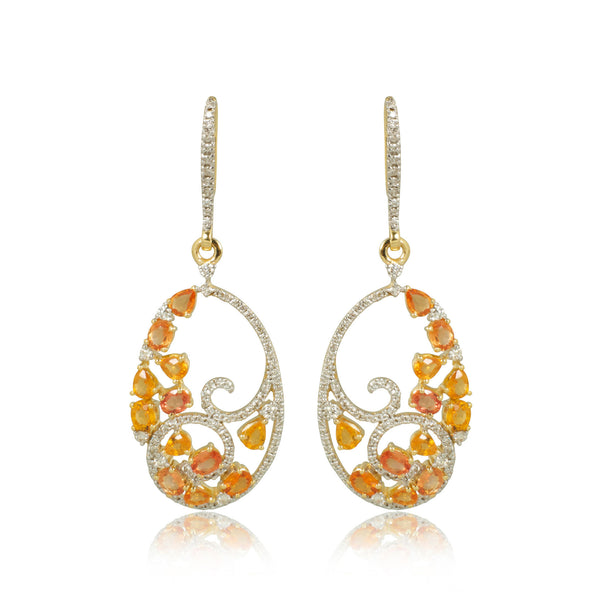 Yellow Sapphire with Diamonds Earrings