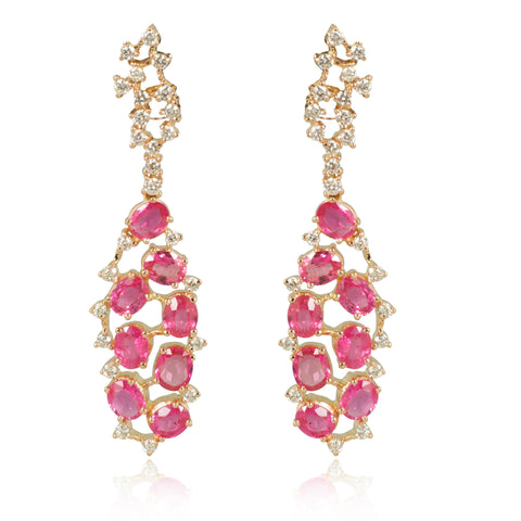 Narrow Pink Ruby Chandeliers with Diamonds