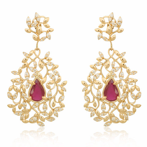 Couture-style Ruby and Diamond Earrings