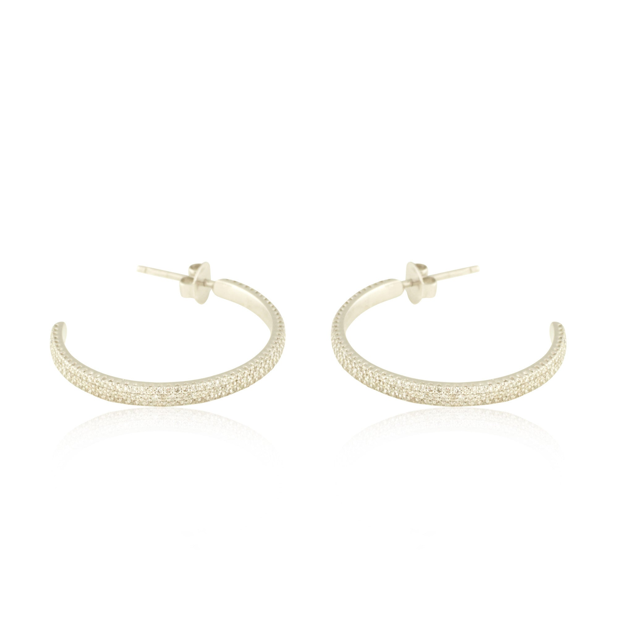 Micro Set White Gold Hoops