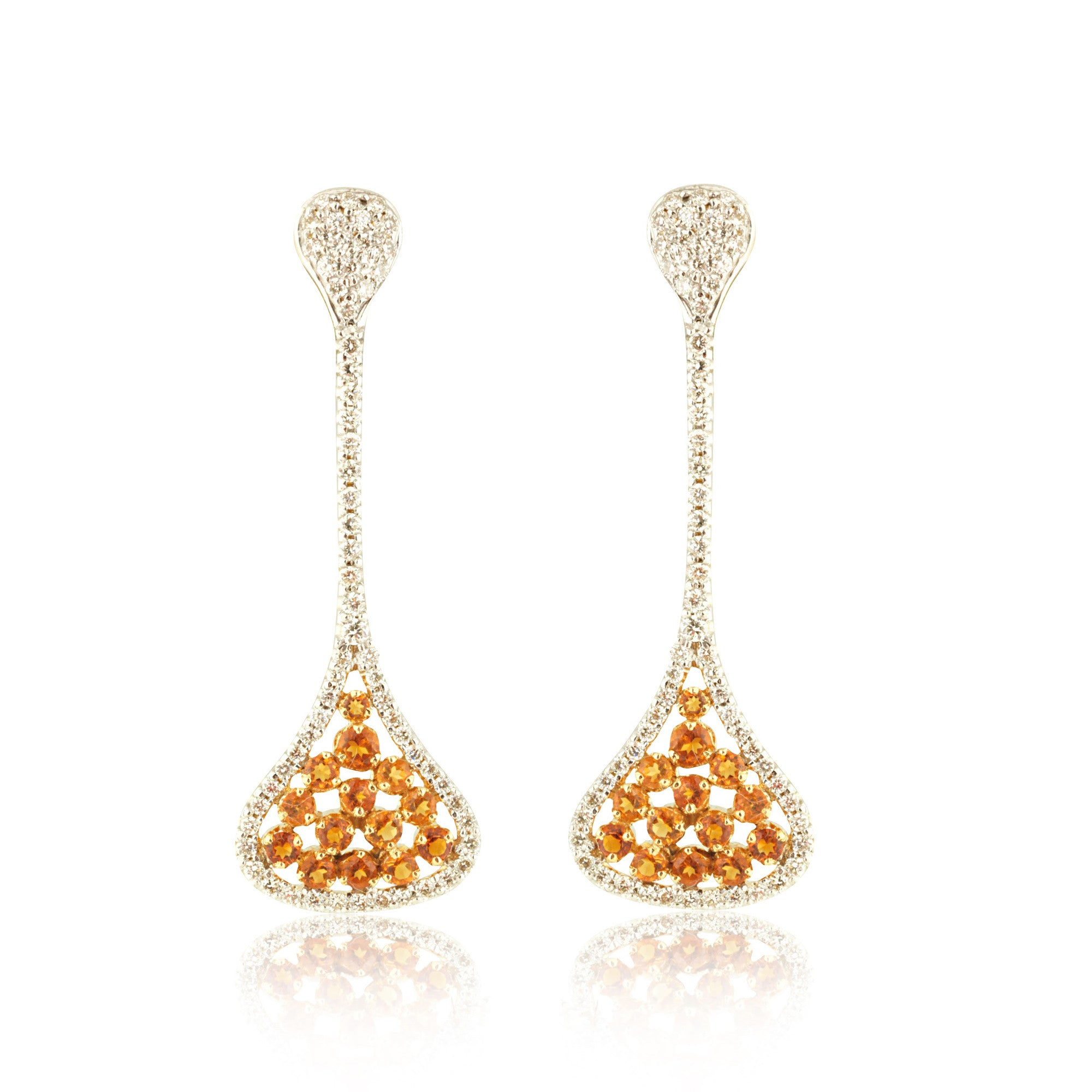 Narrow Diamond with Citrine Drops