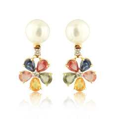 Floral, Multi Color Sapphire, Pearl and Diamond Earrings