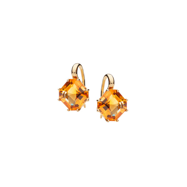 Gossip Emerald Cut Citrine Earrings