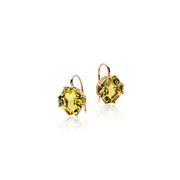 Gossip Lime Quartz Emerald Cut Earrings