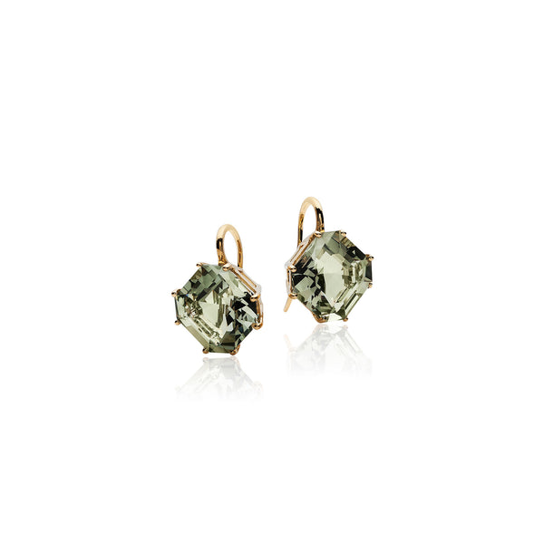 Gossip Prasiolite Emerald Cut Earrings