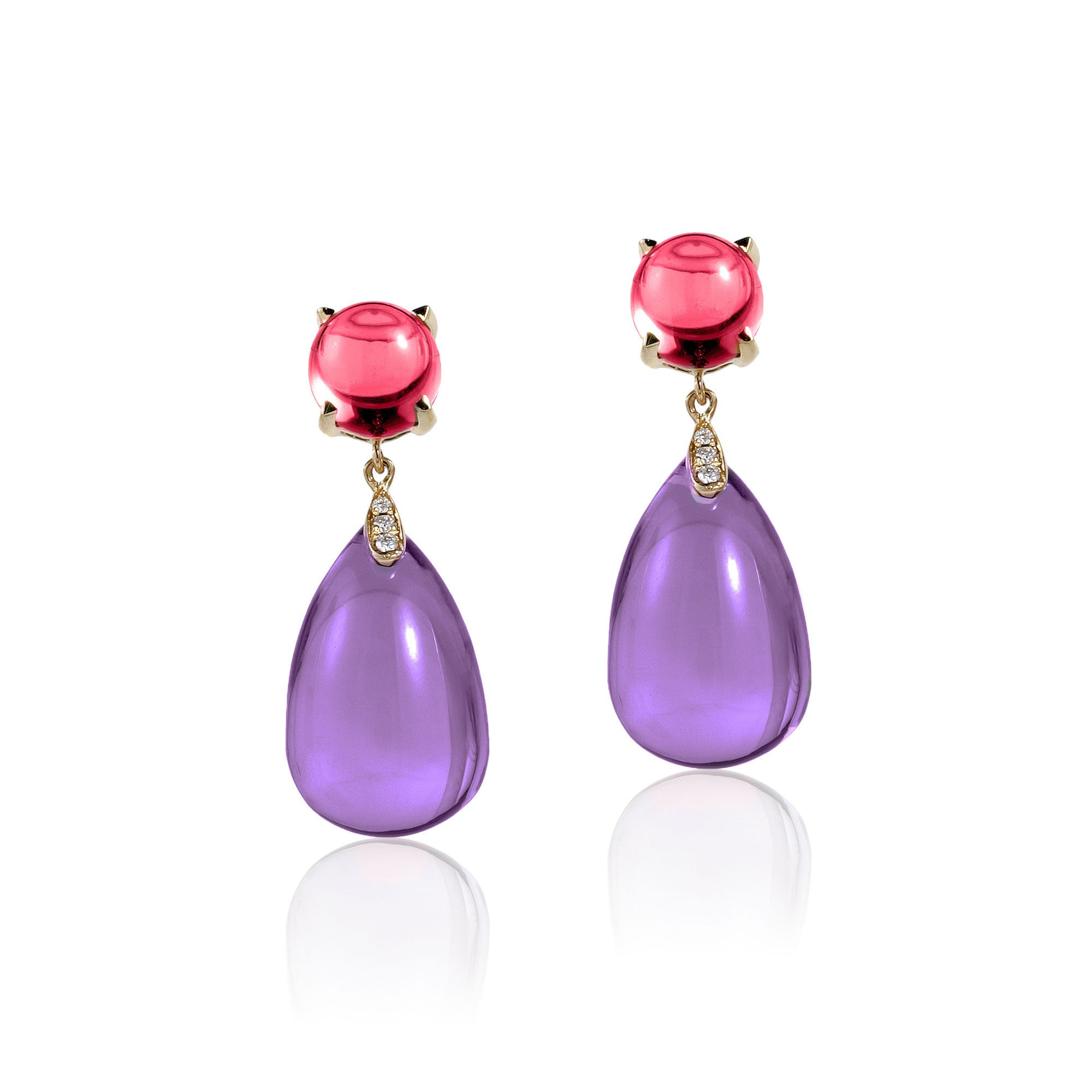 Naughty Cabochon Amethyst and Garnet Drops with Diamonds