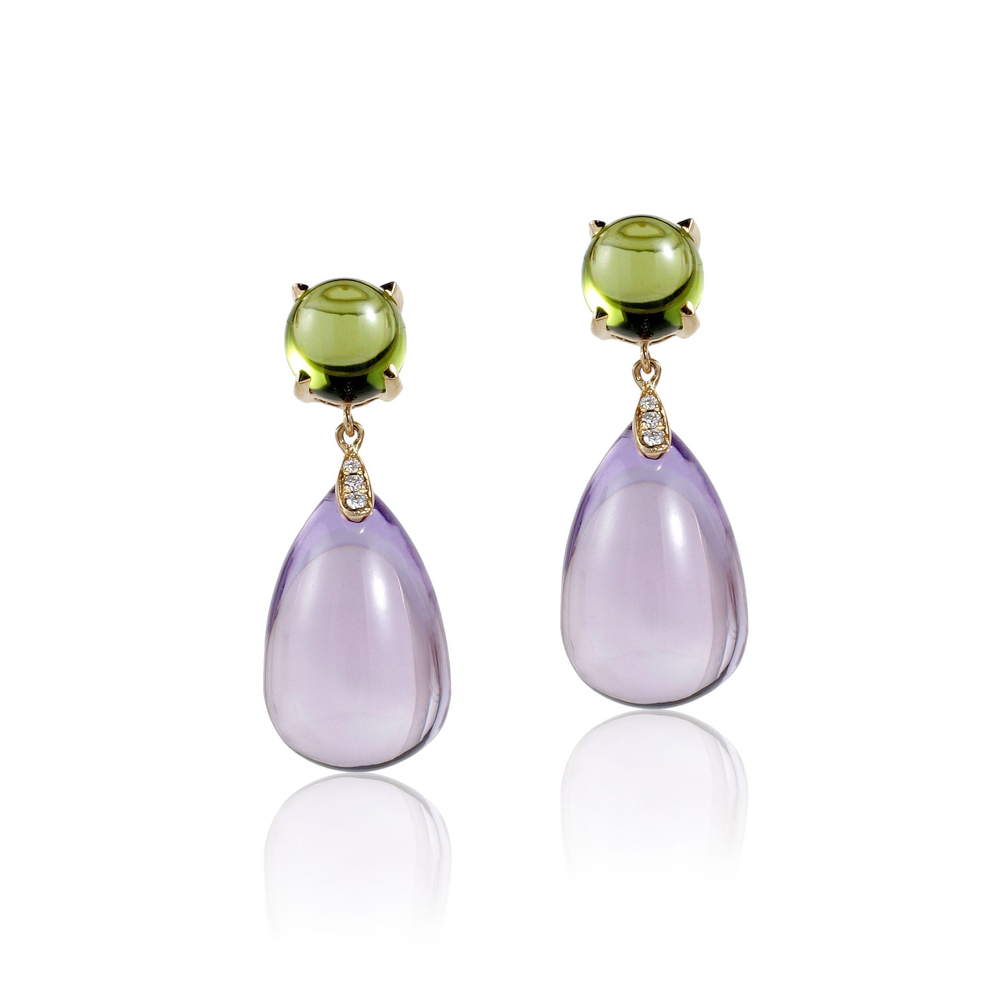 Naughty Cabochon Lavender Amethyst and Peridot Drops with Diamonds