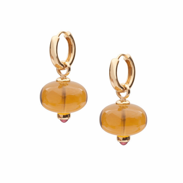 Beyond Citrine and Rubelite Double Loop Bead Earrings