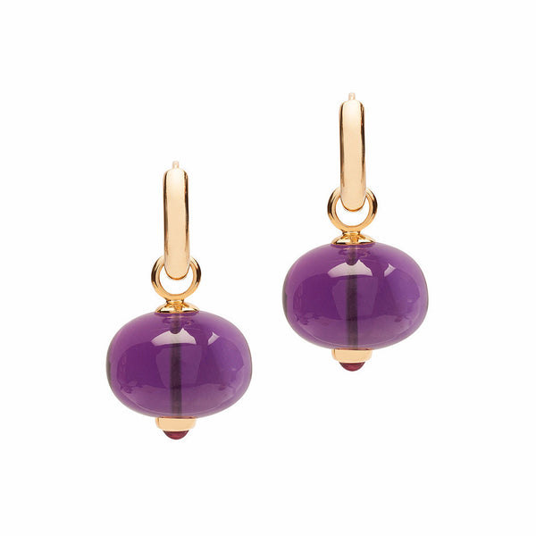 Beyond Amethyst and Rubelite Double Loop Bead earrings
