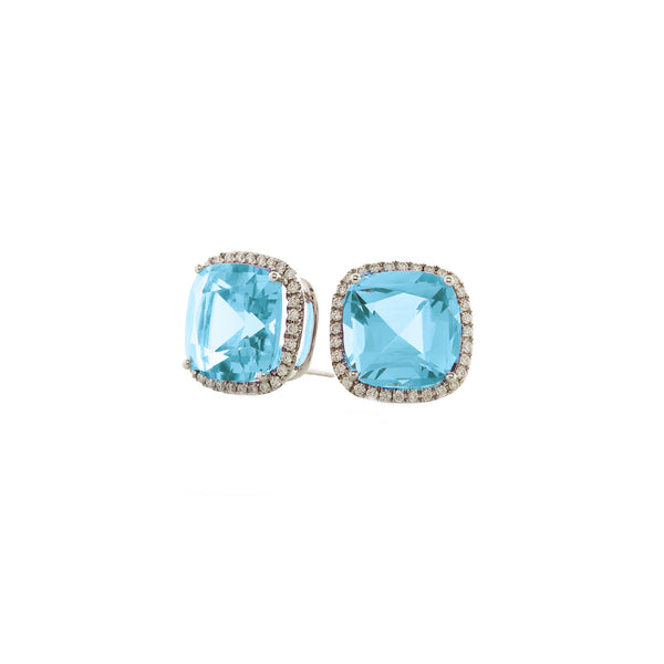 Gossip Blue Topaz and Diamond Earrings