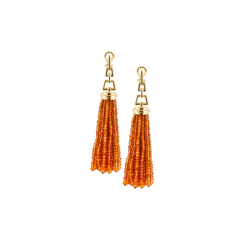 Beyond Mandarin Garnet Tassel Earrings