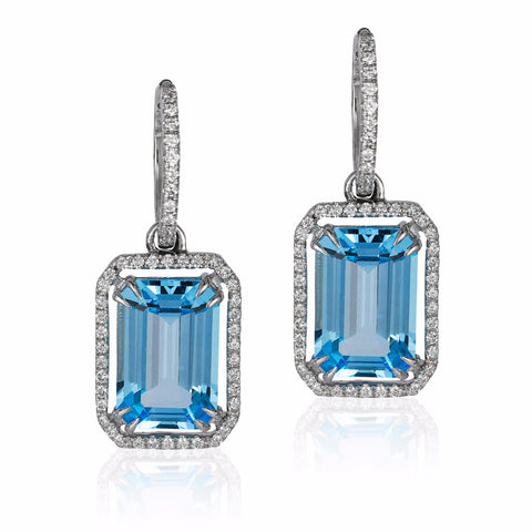 Gossip Blue Topaz Emerald Cut and Diamond Earrings
