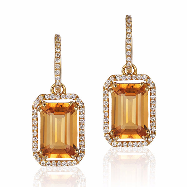 Gossip Citrine Emerald Cut and Diamond Earrings
