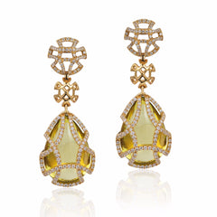 Freedom Teardrop Citrine Caged Earrings with Diamonds
