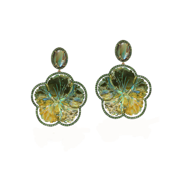 Carved Mother of Pearl Abalone Flower and Tsavorite Earrings