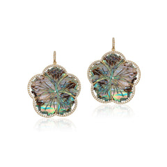 Carved Mother of Pearl Abalone Flower Earrings with Diamonds