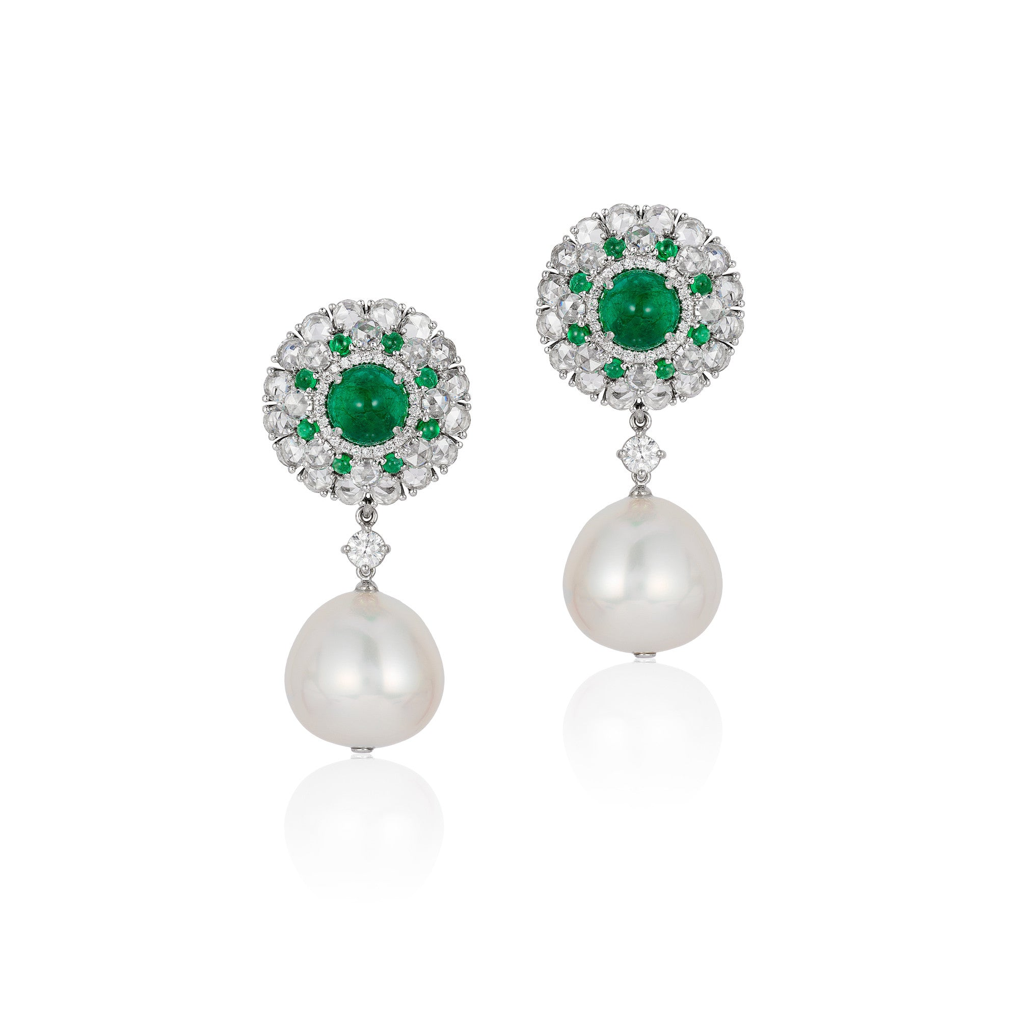 G-One Pearl Earrings with Emerald Cabochons and Diamonds