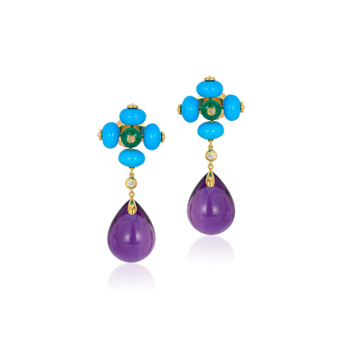 G-One Turquoise, Emerald and Amethyst Earrings