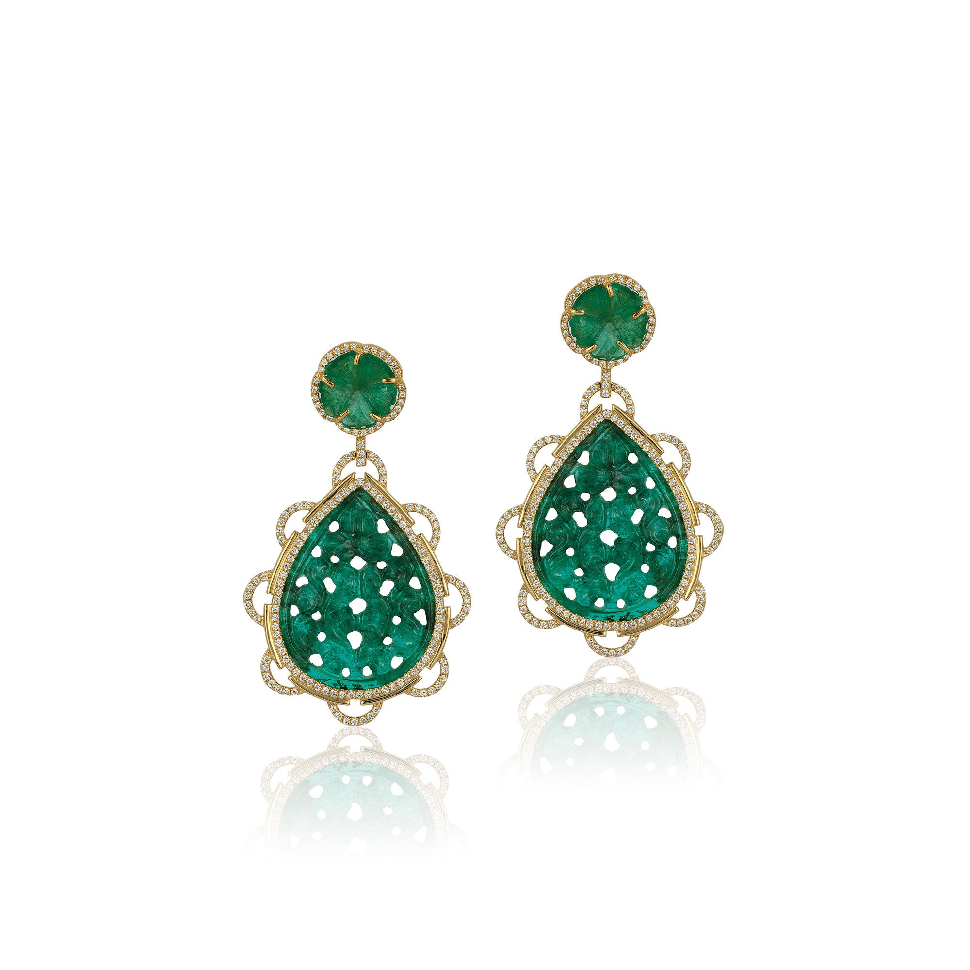 G-One Emerald Carved Flower Earrings