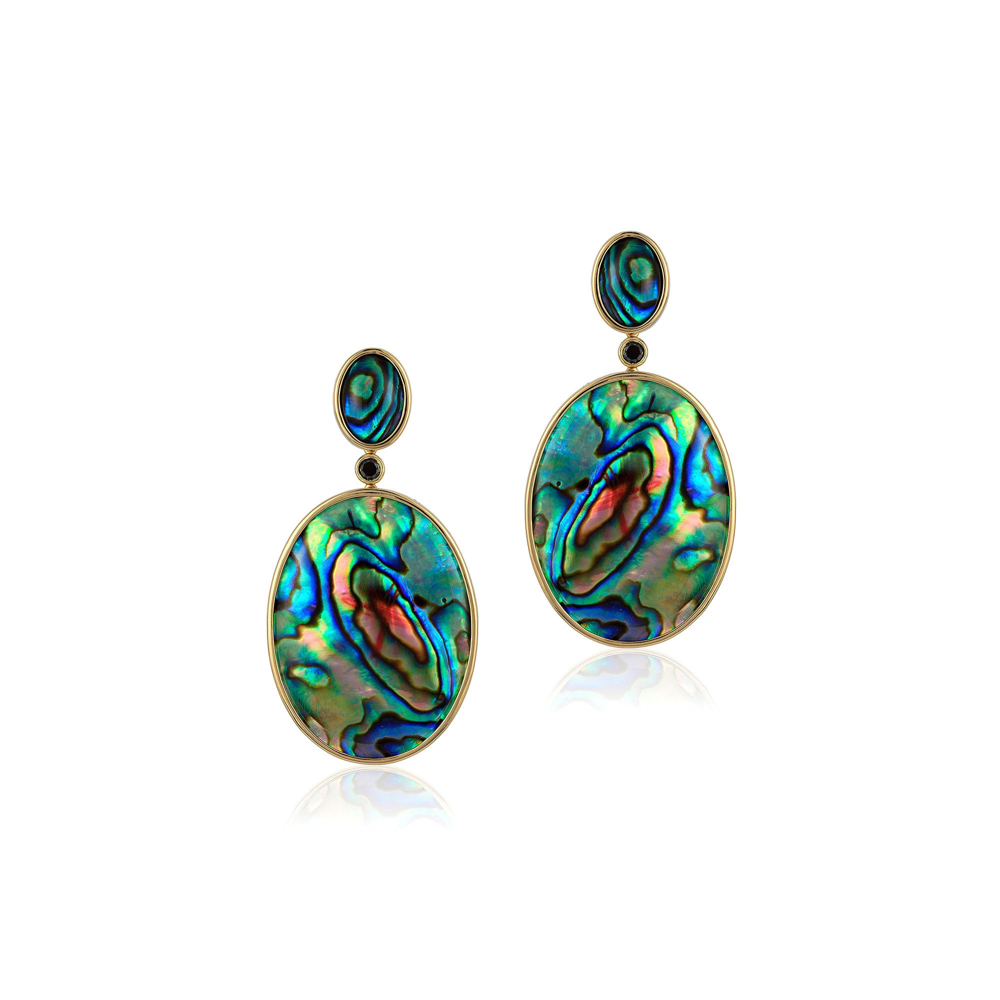Oval Mother of Pearl Abalone Earrings