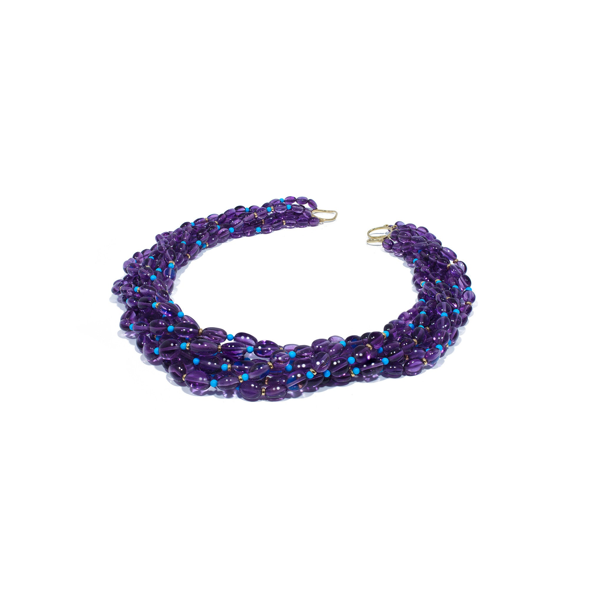 Beyond Seven Strand Amethyst and Turquoise Twisted Bead Necklace