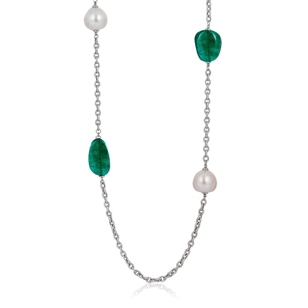 G-One Emerald and Pearl Long Necklace