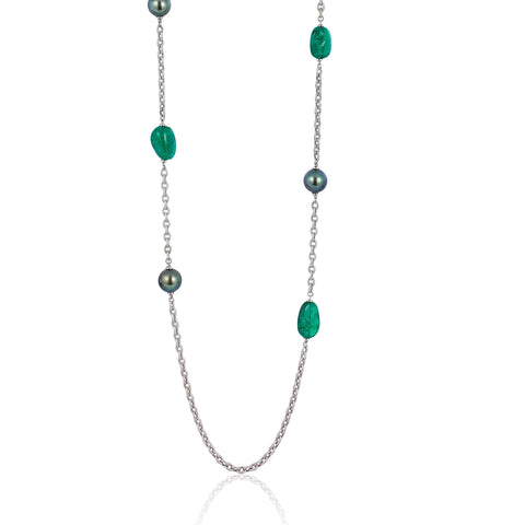 G-One Emerald and Tahitian Pearl Long Necklace