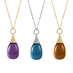 Naughty Amethyst and Diamond Drop Bell Pendant