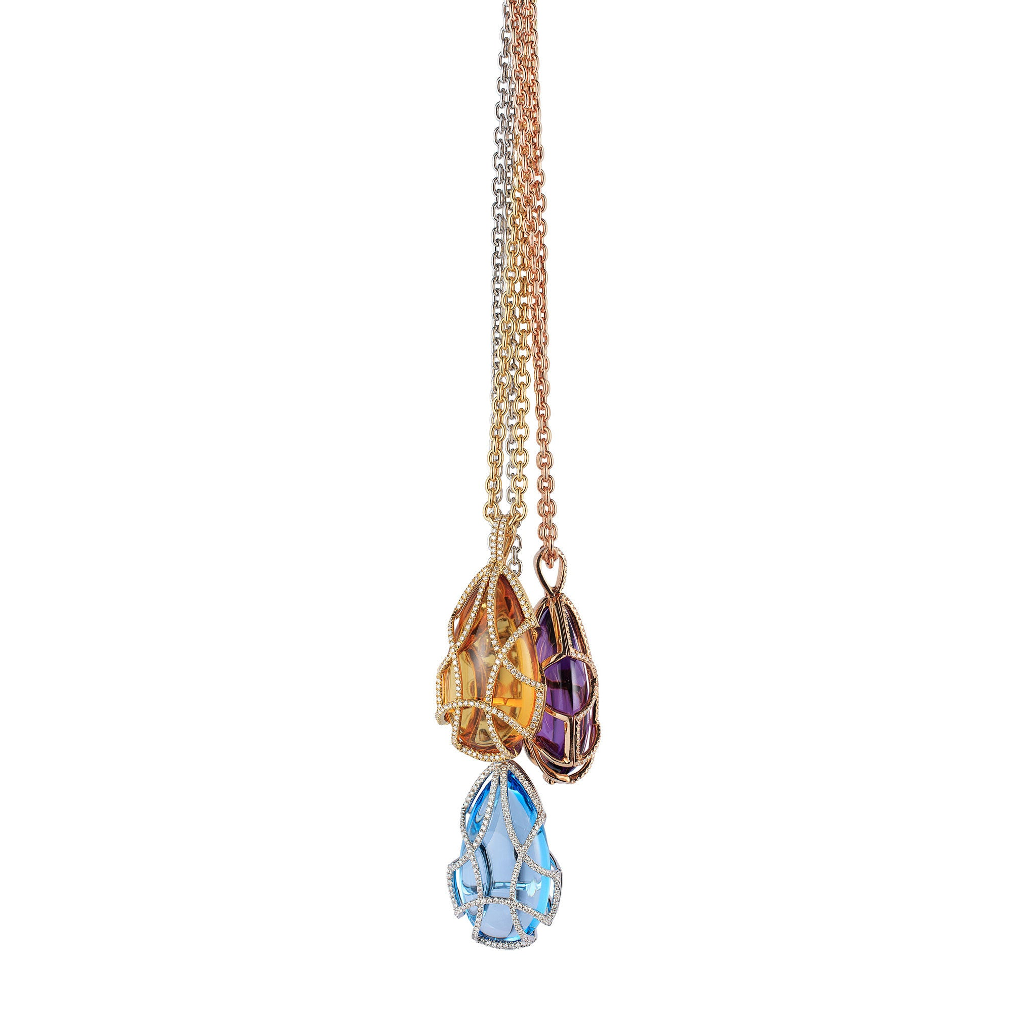 Freedom Tear Drop Caged Pendant with Diamonds