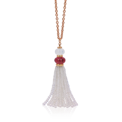 Beyond Moon Quartz and Rubelite Tassel Necklace