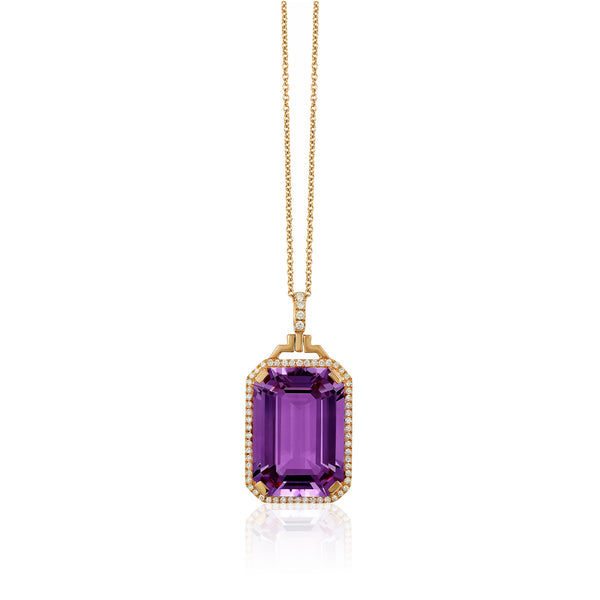 Gossip Emerald Cut Amethyst and Diamond Pendant