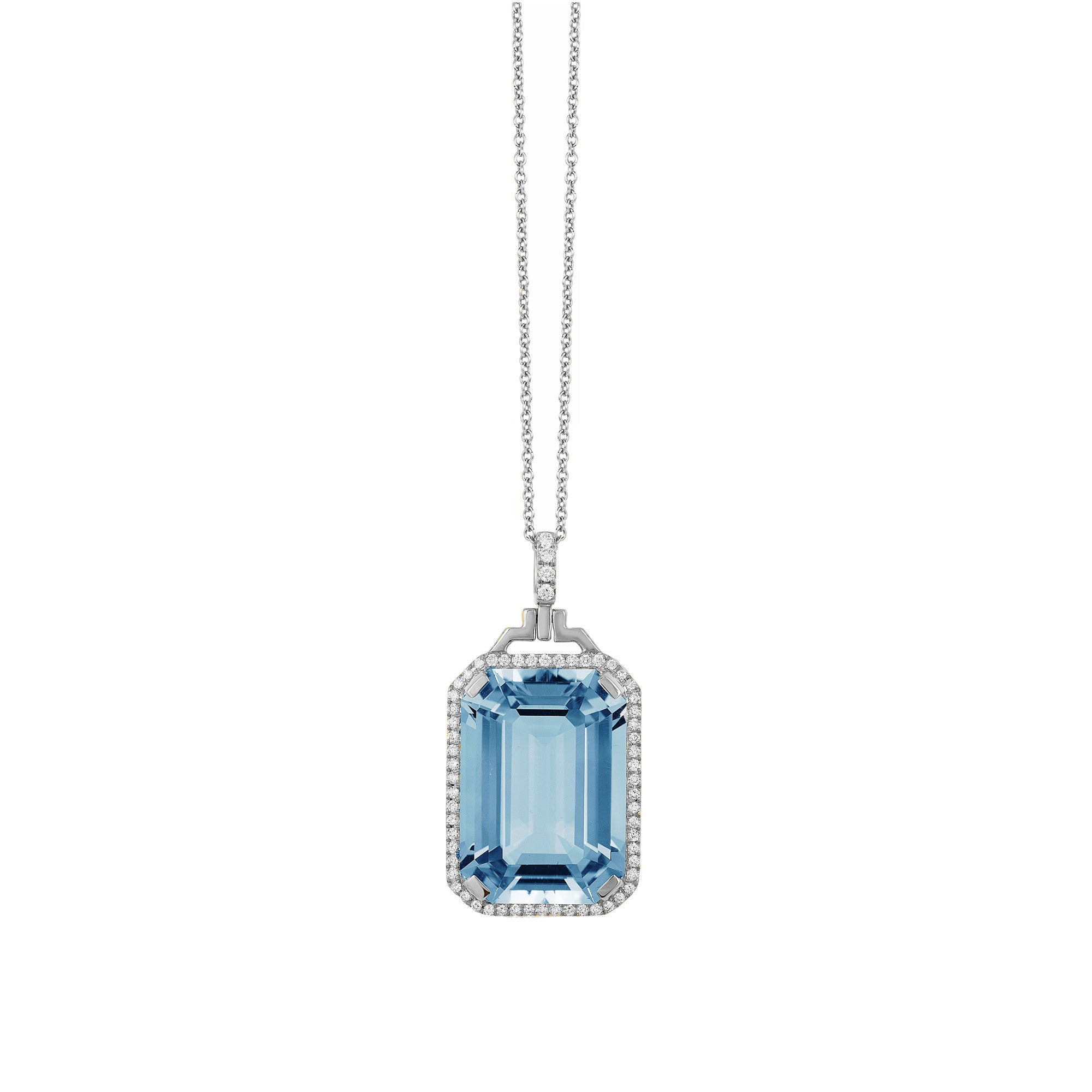 Gossip Emerald Cut Blue Topaz and Diamond Pendant