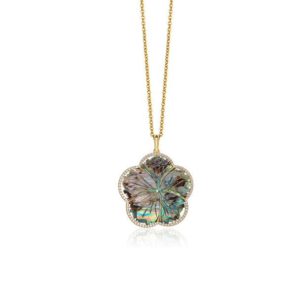 Mother of Pearl Abalone Carved Flower Pendant with Diamonds