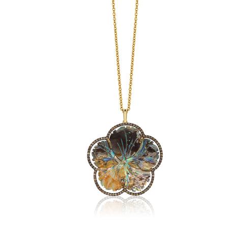 Mother of Pearl Abalone Carved Flower Pendant with Champagne Diamonds