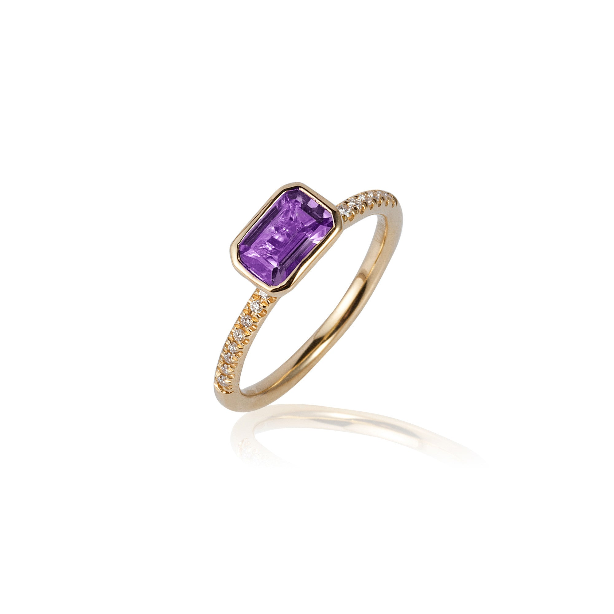 Gossip Emerald Cut Amethyst and Diamond Stackable Ring