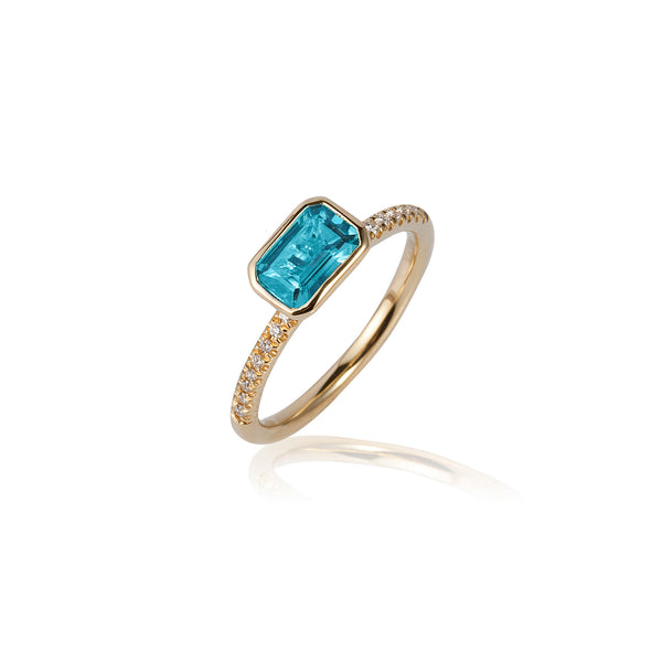 Gossip Emerald Cut Blue Topaz and Diamond Stackable Ring