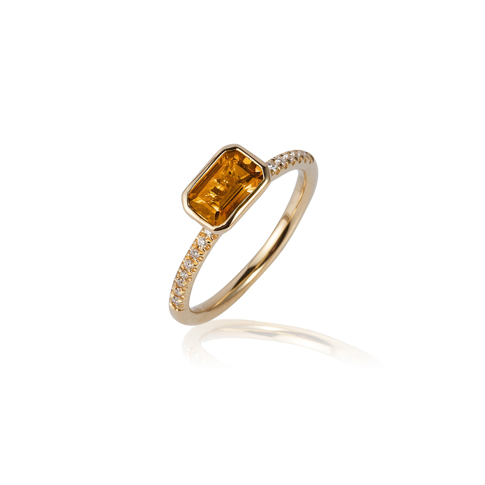 Gossip Emerald Cut Citrine and Diamond Stackable Ring