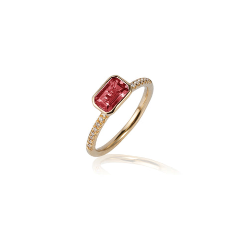 Gossip Emerald Cut Garnet and Diamond Stackable Ring