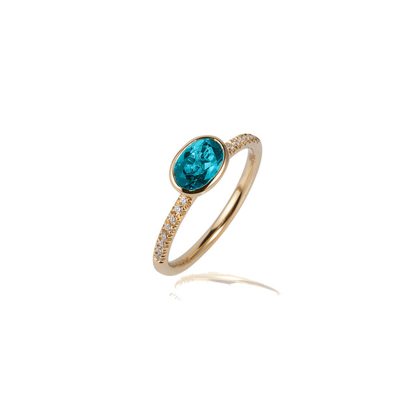 Gossip Oval Blue Topaz and Diamond Stackable Ring