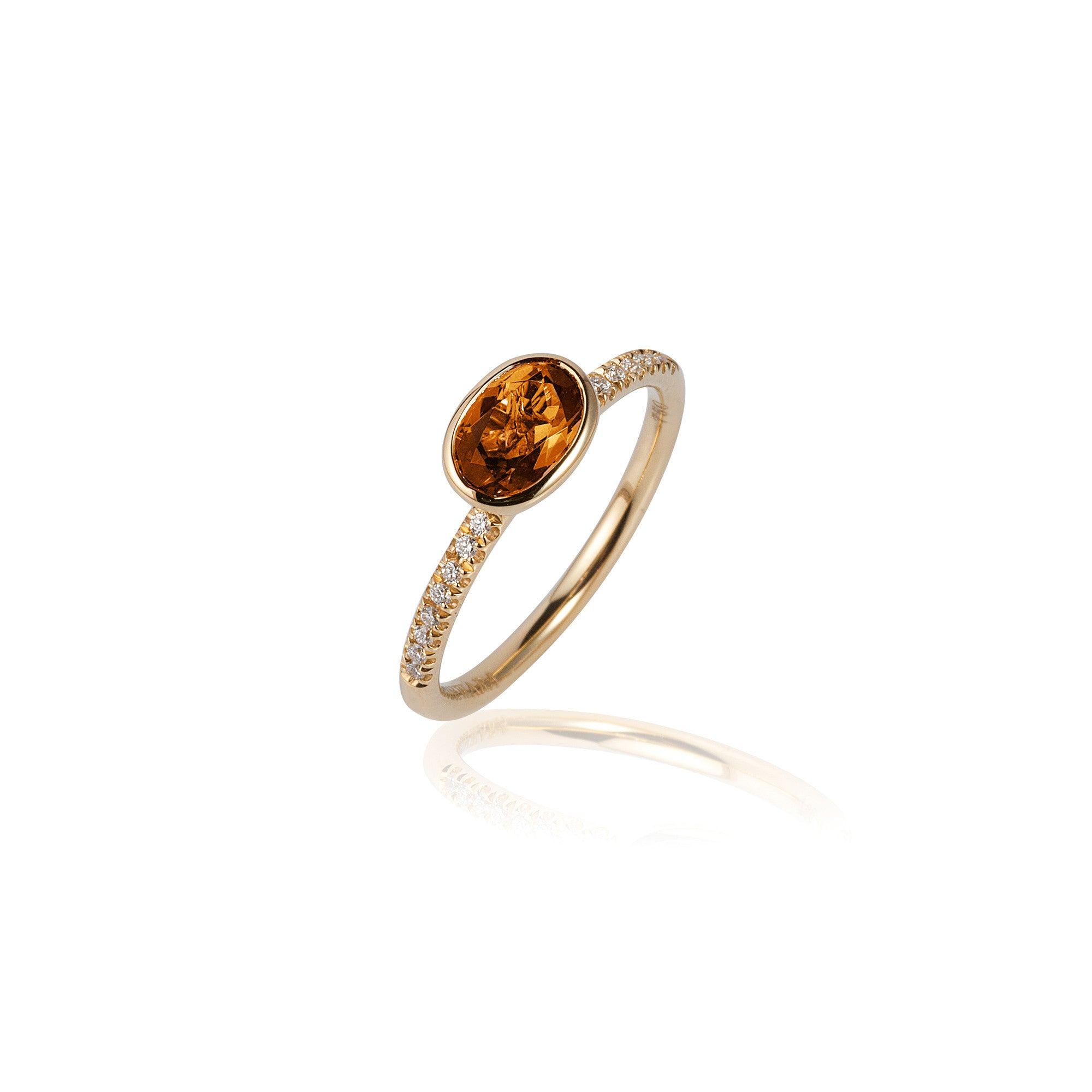 Gossip Oval Citrine and Diamond Stackable Ring