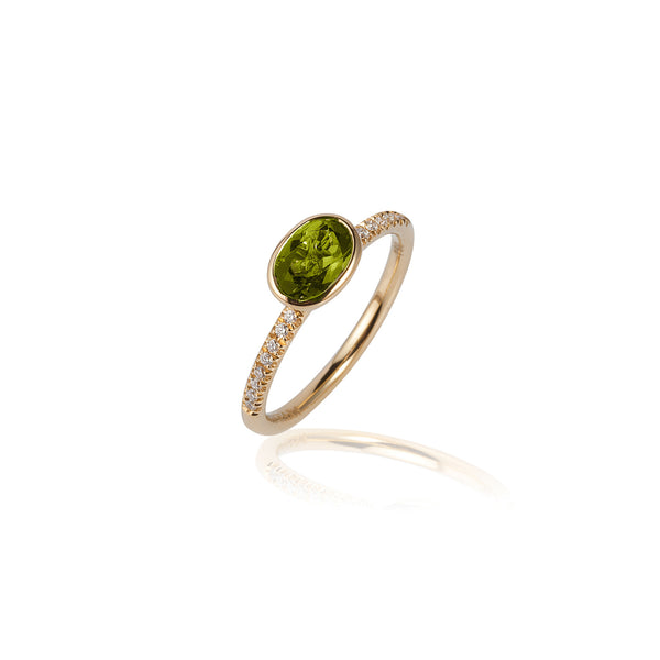 Gossip Round Peridot and Diamond Stackable Ring