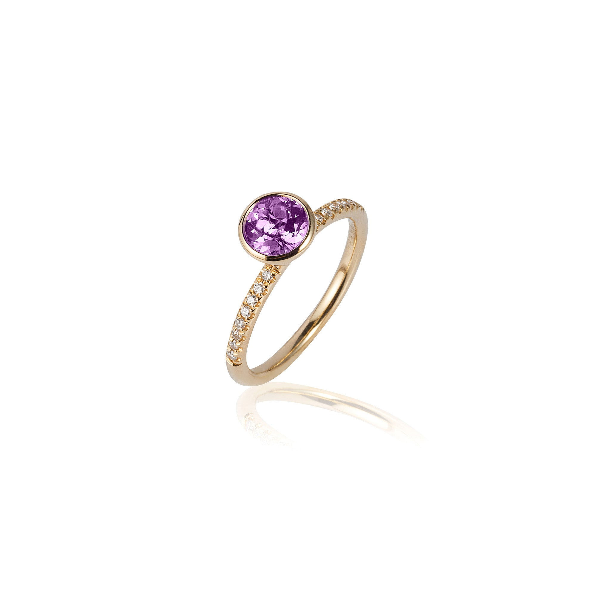 Gossip Round Amethyst and Diamond Stackable Ring