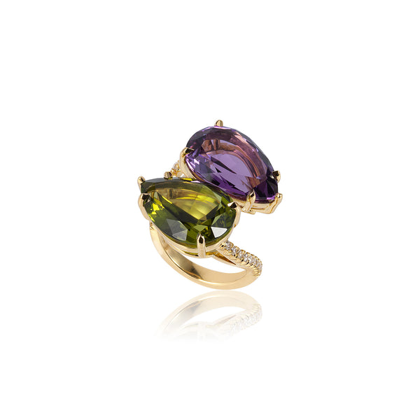 G-One Amethyst and Peridot Twin Ring
