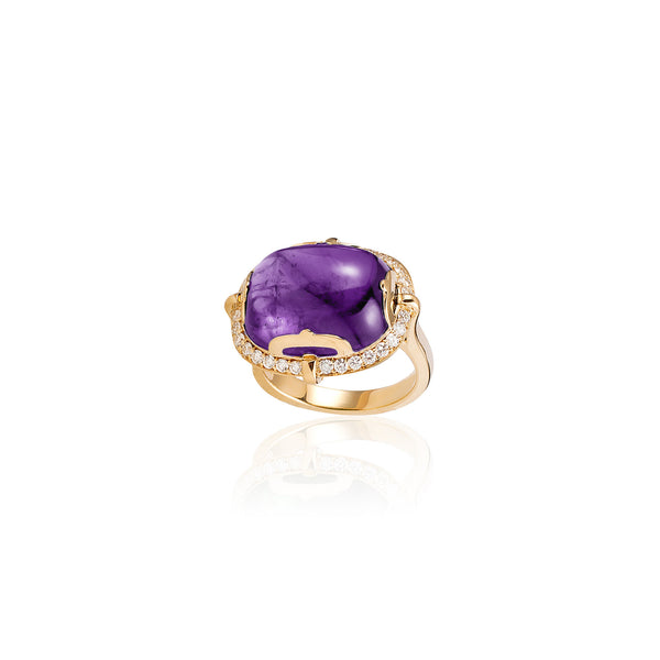 Rock-N-Roll Amethyst Cabochon Ring with Diamonds