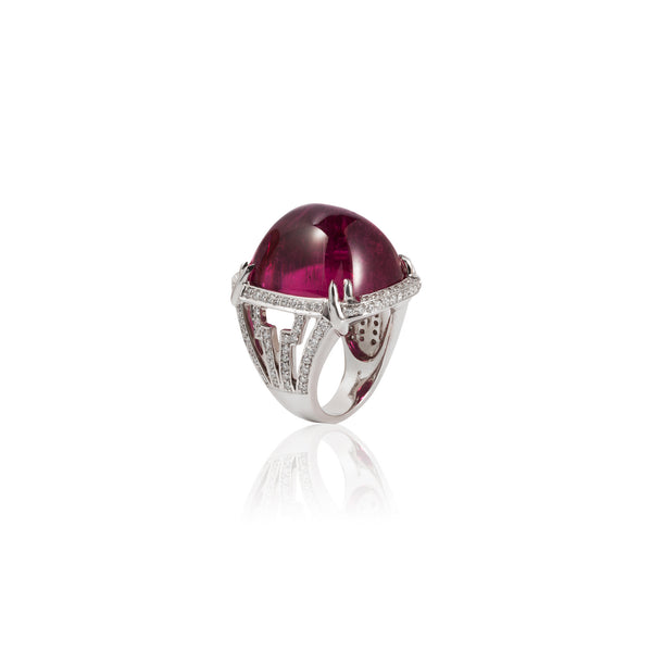 G-One Rubelite Cabochon Ring with Diamonds