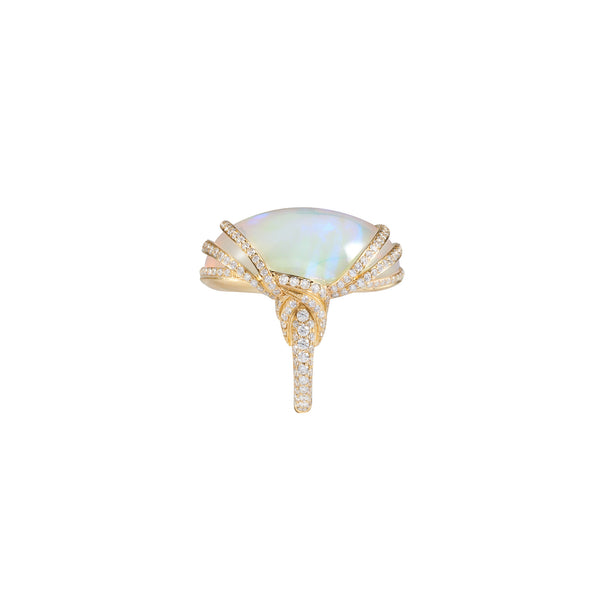 G-One Ethiopian Oval Opal and Diamond Ring