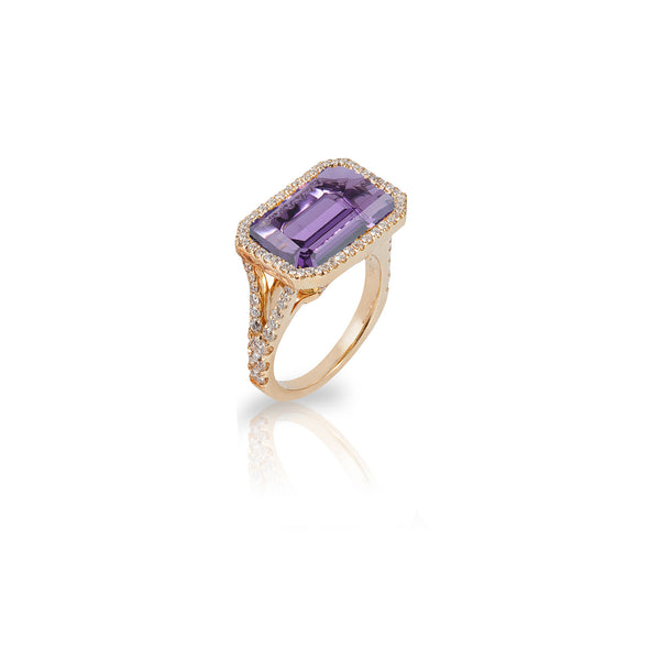Gossip Emerald Cut Amethyst and Diamond Bezel Ring