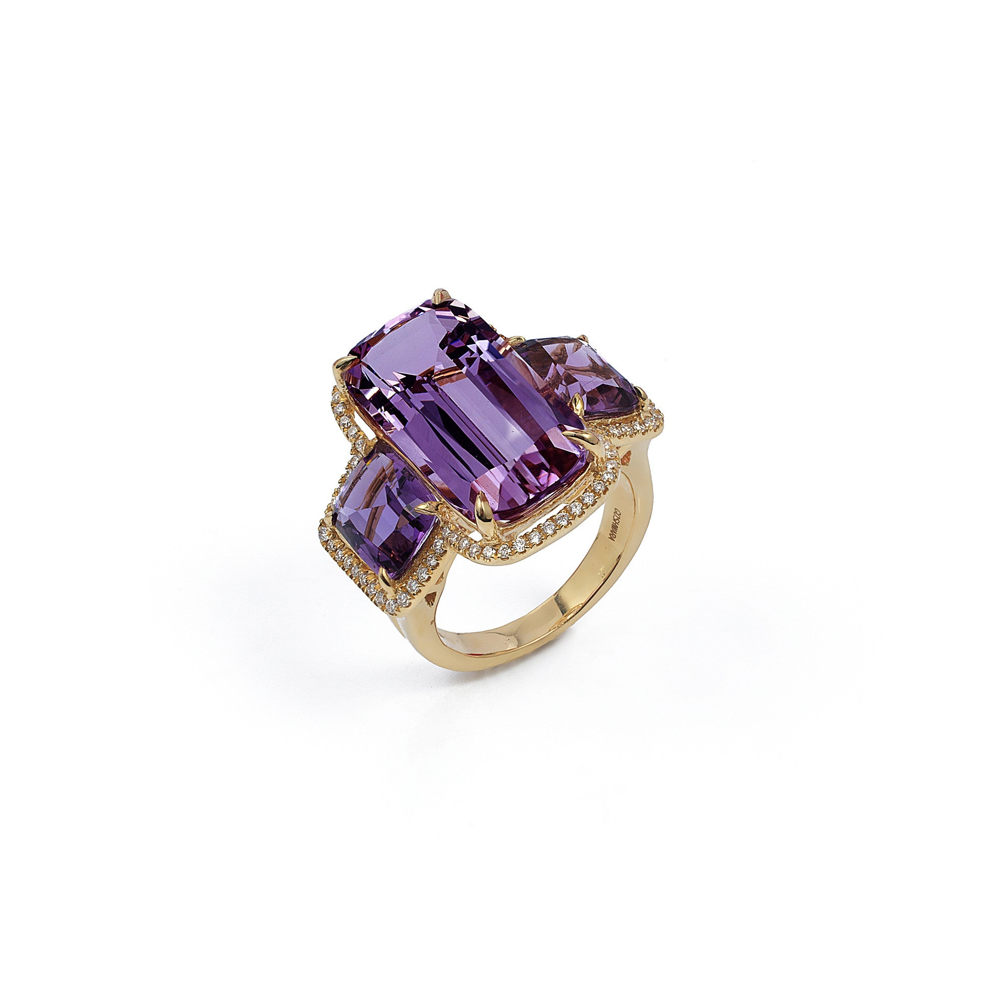 Three Stone Amethyst and Diamond  Ring